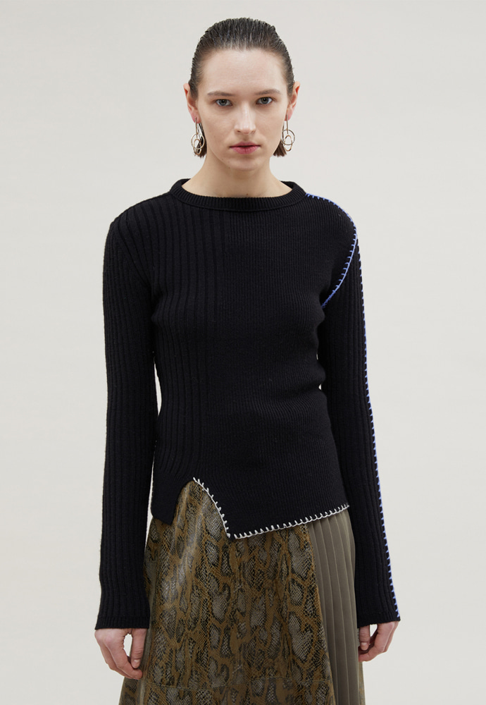Anderssonbell앤더슨벨 CONTRAST BLANKET STITCHED CASHMERE SWEATER atb367w(BLACK)