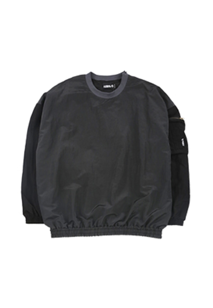 AJO BY AJO아조바이아조 Oversized Bomber Nylon Sweatshirt [Charcoal]