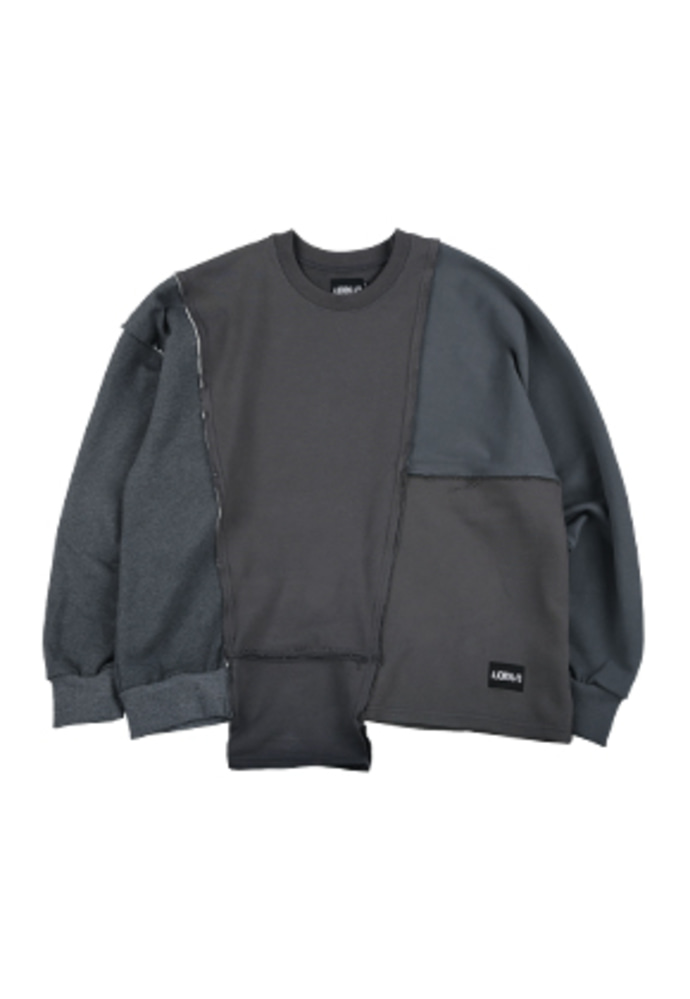 AJO BY AJO아조바이아조 Oversized Mixed Sweatshirt [Charcoal]