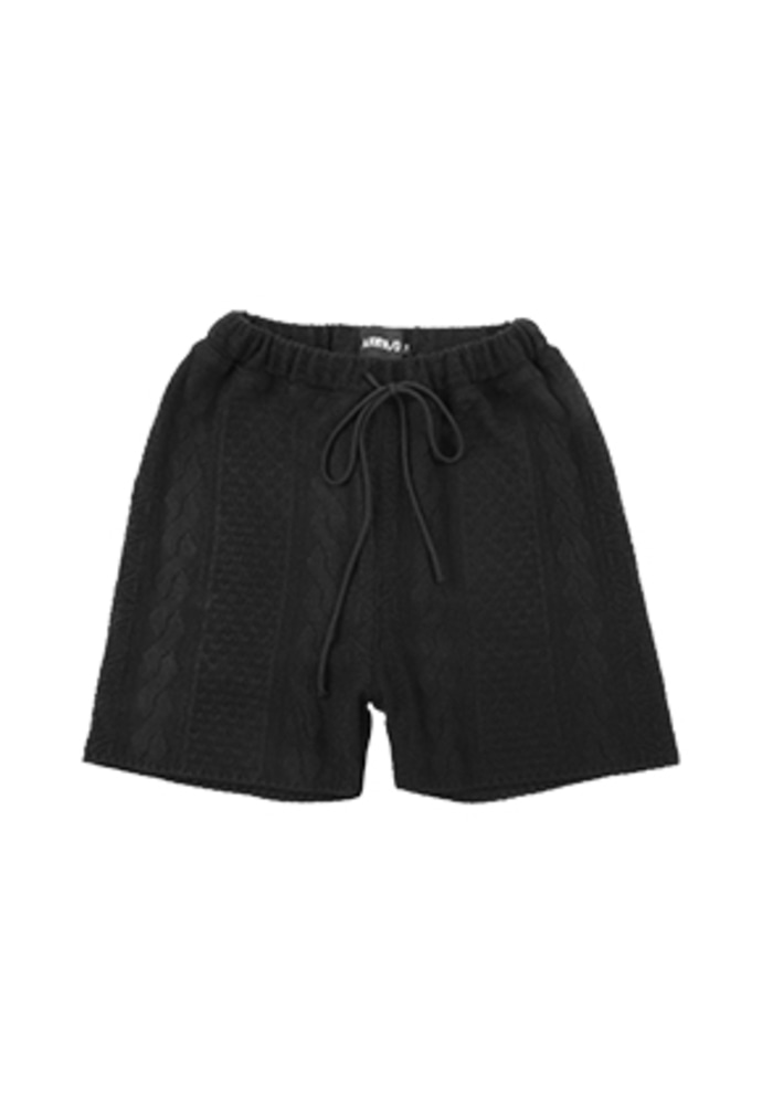 AJO BY AJO아조바이아조 Cable Stitch Knit Shorts [Black]