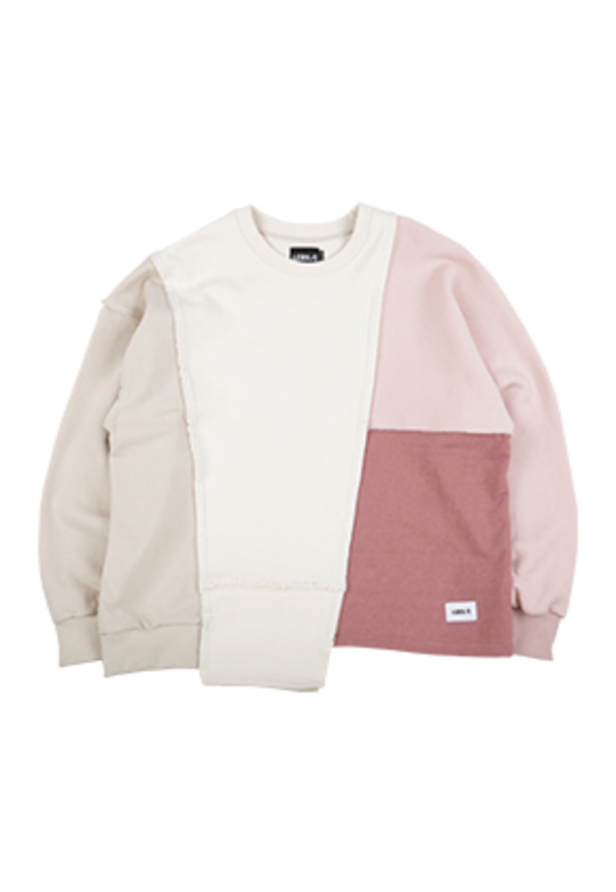 AJO BY AJO아조바이아조 Oversized Mixed Sweatshirt [Pink]