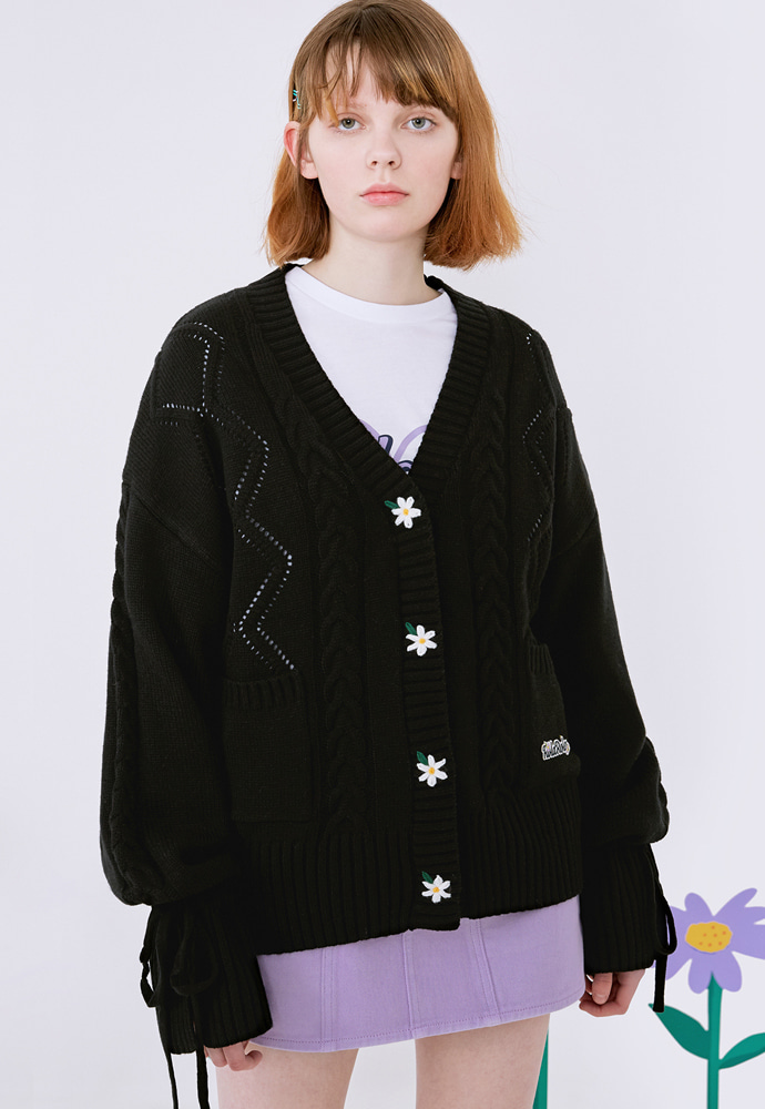 ROLAROLA로라로라 (3월 5주차 예약배송) (CD-20131) FLOWER SLEEVE RIBBON CARDIGAN BLACK