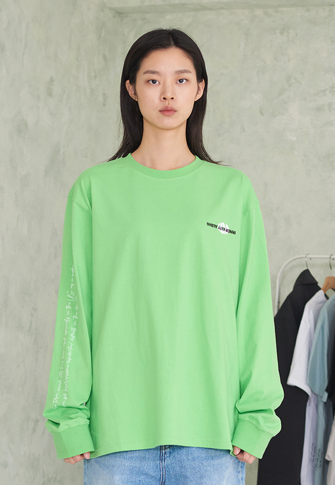 INNER CITY AUDIO이너시티오디오 DOUBLE LOGO LS T-SHIRTS LEAF GREEN