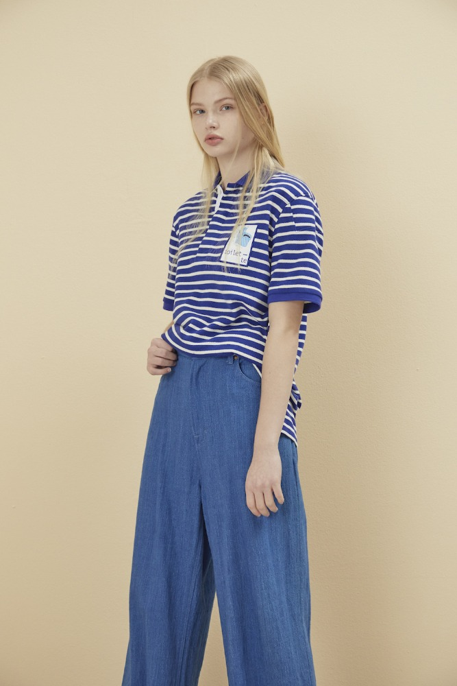 NOHANT노앙 PADDED PIQUE SHIRT STRIPE-BLUE