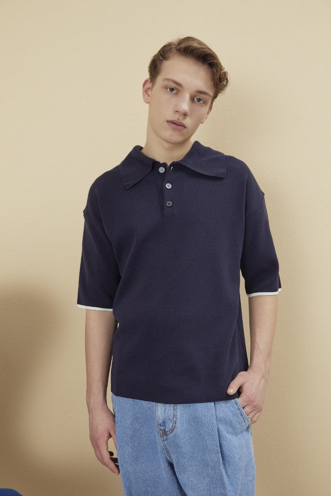 NOHANT노앙 KNITTED COLLAR PIQUE SHIRT NAVY
